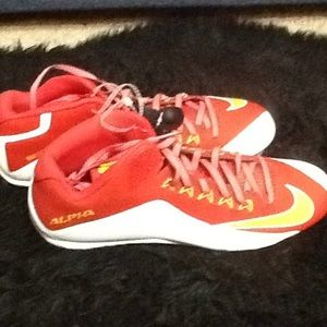 Men's white red Nike football cleats